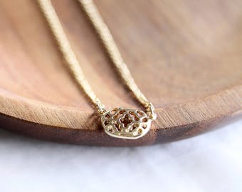 Tiny Gold Choker Necklace, Gold Pendant necklace, Gold Pendant choker, Gold Choker