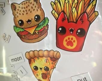 Fast food kitty magnets // burger fries pizza junk cat magnet kawaii cute