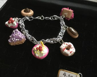 Girly cakes charm bracelet