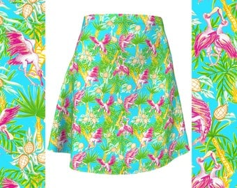 Island Tropical Spoonbills Resort Fashion Summer Skirt Pineapples Palm Trees