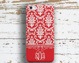 Personalized gifts for mom, Damask phone case, Red and white floral cover, Fits iPhone 4/4s 5/5s 6/6s 7 8 5c SE X and Plus (1265)