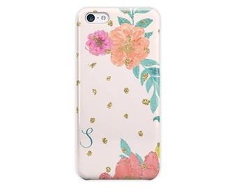 Floral iPhone SE case with faux glitter, Pink yellow green,Gift For Her, Fits 4 4s 5 5s 6 6s 7 8 5c SE and Plus (1784)