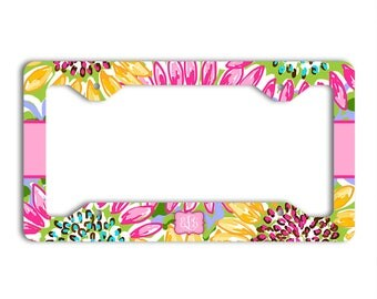 Monogrammed license plate frame with Pink and yellow sunflowers, Cute auto decor, Preppy floral car decoration, Gifts for her (1681)