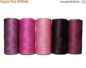 SUR cordon de vente de macramé - ciré Polyester Linhasita - lot de 5 couleurs - 10 mètres chaque couleur