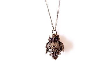 Brass owl pendant necklace // Long owl necklace
