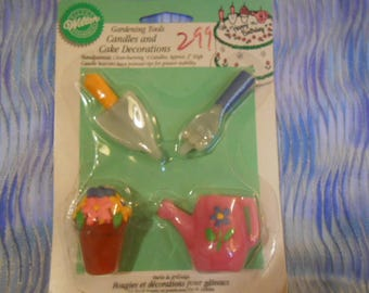 Wilton Gardening Tools Candles and Cake Decorations-Sealed-1997