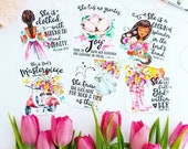 DARK HAIR She is God's masterpiece / proverbs 31 / mother's day inspired scripture set of 6 journaling / bible journaling cards