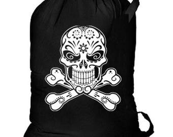 Sugar Skull Crossbones New Cotton Laundry Bag Camp Events Day of the Dead