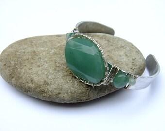 Cuff Bracelet, Green Bracelet, Silver Bangle, Aventurine Bracelet, Layering Bracelet, Gemstone Jewelry, Wire Wrap, Boho, Stacking Bangle