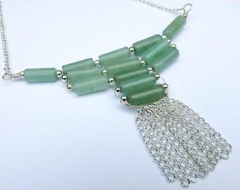 Green Necklace, Statement Necklace, Aventurine Necklace, Tribal Jewellery, Fringe, Bib, Collar, Choker, Tassle, Boho, Hippie, Gemstone,