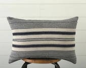 Vintage Hmong Indigo Blue & White Stripe Lumbar Pillow with Feather Insert . Farmhouse Decor . Bohemian Boho Chic . Ikat . Batik