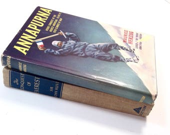 Vintage Mountain Climbing Books, Anapurna, Conquest of Mt.Everest, Book Decor, Book Set, Adventure, Mountaineer Book