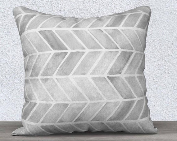 Gray Tribal Pillow Cover in Velveteen