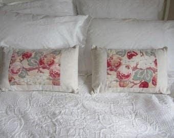 Pair cushions. Vintage French fabrics