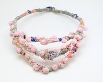 Fiber Necklace, Pom Pom Jewelry, Colorful Necklace, Wrapped Necklace, Spring Jewelry, Pink and Navy, Grey Fabric Necklace, Bib Necklace