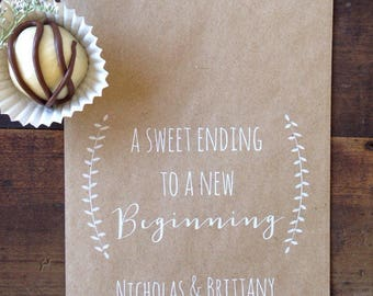 Wedding Cookie Bags - Candy Buffet Sacks - Custom Wedding Favors -  Recycled Kraft Paper - Personalized Printed Bag -White Ink Print