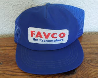 Vintage Trucker Snapback Hat- Favco the Cranemakers- Blue