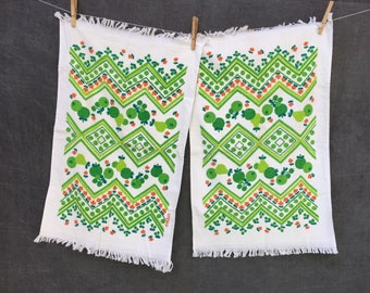 Vintage B&D Kitchen Towels - x2 Hand Towel Size Green Apple Pear Tomato Flower - New Old Stock