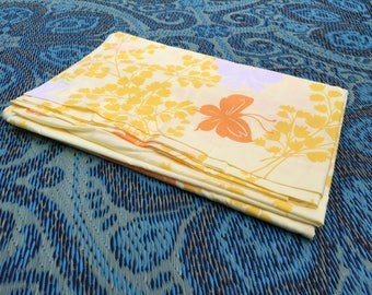 70's Springmaid Wondercale Yellow and Orange Butterflies Print TWIN FLAT Sheet