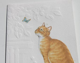 Vintage Embossed Red Tabby Cat Kitten Kittie Blank Note Cards, Set of 8 cards and envelopes