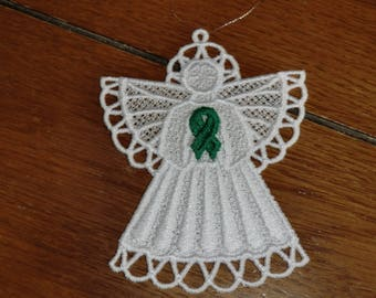 Embroidered Ornament - Christmas - Liver Cancer Angel - Emerald Ribbon