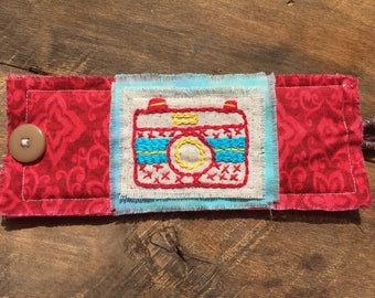 Hand embroidered fabric cuff bracelet