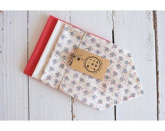 Set of 3 handkerchiefs cotton organic cherry blossoms, white, coral, zero waste, eco-friendly and economical.