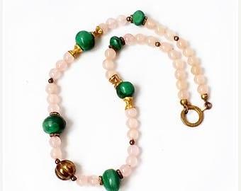 SALE Vintage Rose Quartz and Malachite NECKLACE , Genuine Malachite and Rose Quartz Bead Necklace .