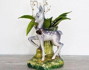 SALE Vintage Porcelain Deer Figure Vase Planter ,Bambi Deer Planter,Fawn Deer Planter,Woodland Deer Planter Vase
