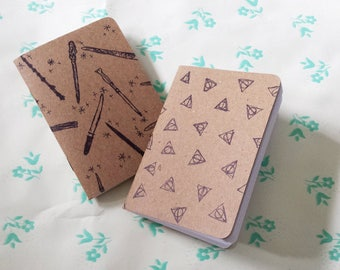Magical Wizarding Custom Notebooks- Wands and Deathly Hallows