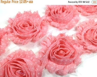 """Summer SALE 10% OFF 2.5"""" PRINTED Shabby Rose Trim- Pink with White Dots - Chiffon Trim - Pink Shabby Trim -Hair Accessories Supplies"""