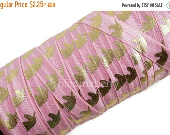 "Summer SALE 10% OFF 5/8"" PRINTED Fold Over Elastic - Pink/Gold Unicorn - Printed Elastic -  Unicorn Elastic Fold Over -Pink Elastic -Hair Ac"