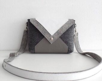 Gray White Wool Felt Genuine Leather Crossbody Bag