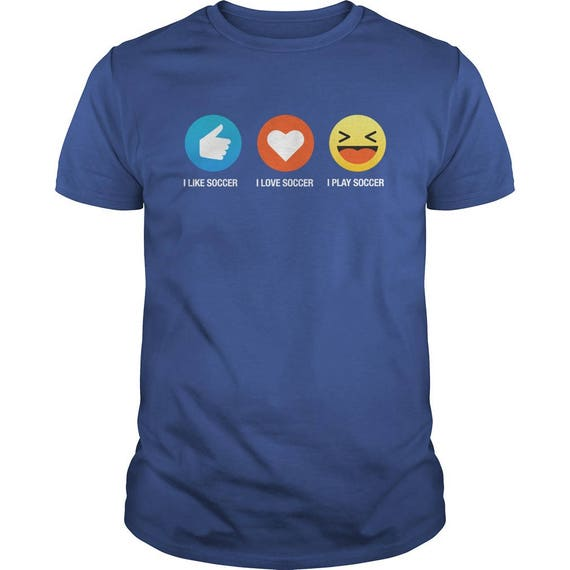 Emoji (emoticon) I Love Soccer Three Sayings T-Shirt