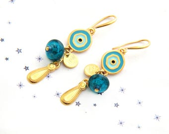 Earrings dangling sequins enamel glass bead spun gold turquoise gold