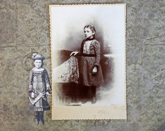 Prim and Proper*Black and White Vintage Photo*Standing Girl *Junk Journal Supply*Paper Craft Supply