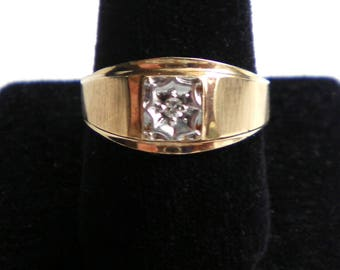 10K Yellow Gold Classic Satin Finish Diamond Solitaire Vintage Ring *FREE U.S. SHIPPING 4 Grams.  Size 11
