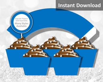 Solid Blue Cupcake Wrapper Instant Download, Party Decorations