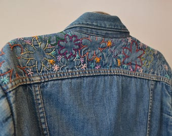 1970s Embroidered Denim Jacket. Maverick Wool Blanket Lining Selvage Denim Size 38. Made in USA