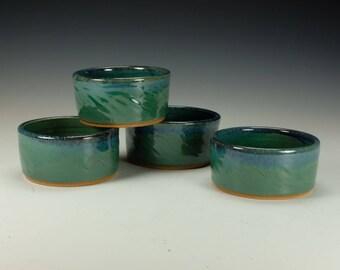 Salsa / Guacamole cup.  Dessert bowl.  Copper green w/ blue accent. Ready to ship.