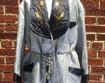 Vintage 40s 50s Asian Dragon Lapel Smoking Jacket // Vtg Quilted House Coat // Medium Large