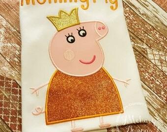 Peppa Pig Family Queen Mummy Pig Birthday Custom Tee Shirt - Customizable -   Adults 120 orange