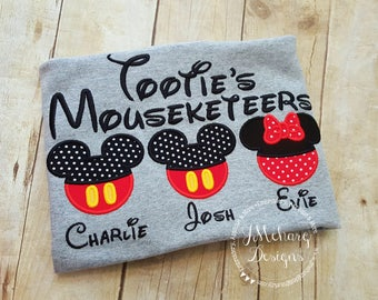 Gorgeous Custom embroidered Disney Mousketeers Shirts for the Family! 939b gray