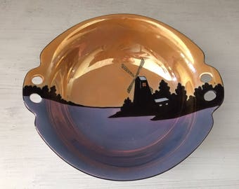 Lusterware, Meito, bowl, handles with holes, made in Japan, silhouette, windmill, decorative, candy dish, tableware, vintage, Art Deco