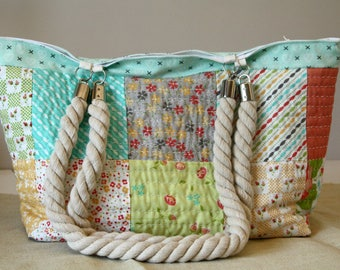 Bag multicolor, cotton, rope handles