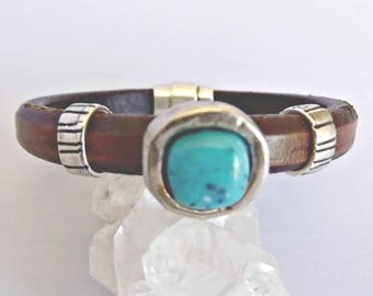 Turquoise bracelet, turquoise, turquoise jewelry, leather bracelet, leather bracelets, bracelets for women, gift for her, boho bracelet