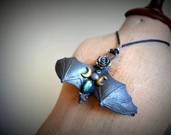 Bat ,Bat Necklace,Bat spirit animal,Bat totem,The Night flyer,triple moon,gemstone crystal talisman,unique gift jewellery,necklace,crescent