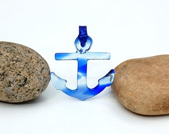 Fused Glass Anchor Ornament, Fused Glass Anchor Suncatcher