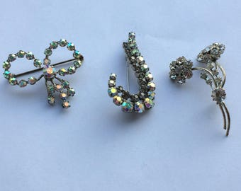 3 vintage silvered Marcasite brooches French