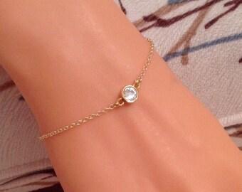 Stud Bracelet, Gold  Bracelet, Rhinestone Gold Jewelry, Gold Bracelet, Classy Jewelry, Delicate Anklet, Elegant Bracelet, Birthday Girl Gift
